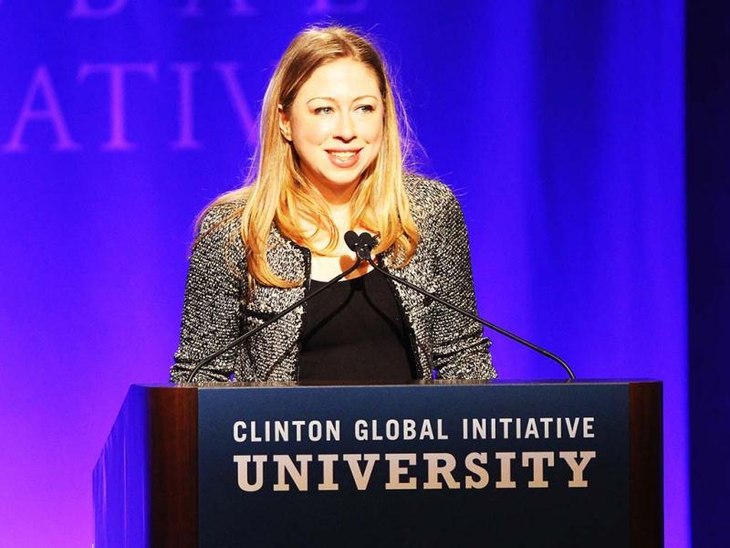 Chelsea Clinton addresses the audience prior to leading a discussion group about empowering women in the future during the Clinton Global Initiative University at Washington University in St Louis Missouri. AFP