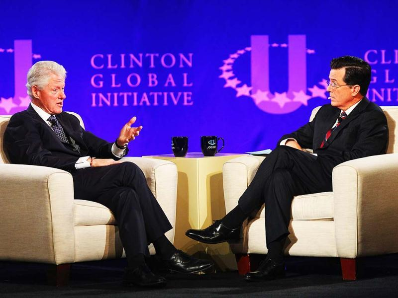 Former US president Bill Clinton and TV personality Stephen Colbert hold a discussion during the Clinton Global Initiative University at Washington University in St Louis Missouri. AFP