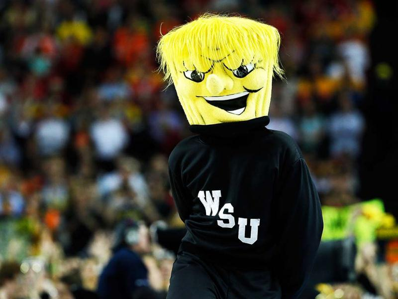 The mascot for the Wichita State Shockers performs against the Louisville Cardinals during the 2013 NCAA Men's Final Four Semifinal at the Georgia Dome in Atlanta, Georgia. AFP