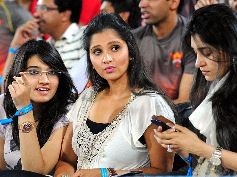 Tennis player Sania Mirza with her sister Anam Mirza during the IPL match between RCB and Sunrisers Hyderabad in Hyderabad. PTI Photo