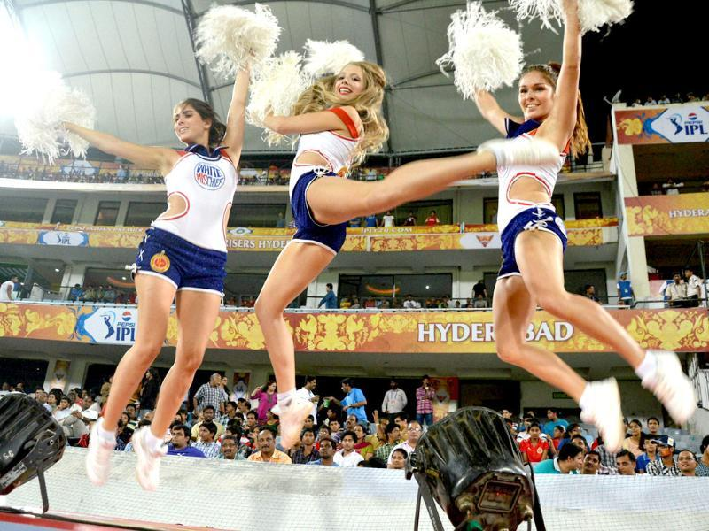 Cheerleaders perform during the IPL match between Sunrisers Hyderabad and Royal Challengers Bangalore in Hyderabad. PTI Photo