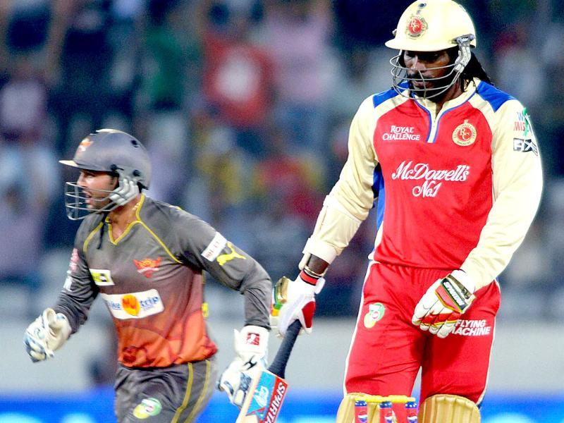 RCB's batsman Chris Gayle after his dismissal during IPL match against Sunrisers Hyderabad in Hyderabad. PTI Photo