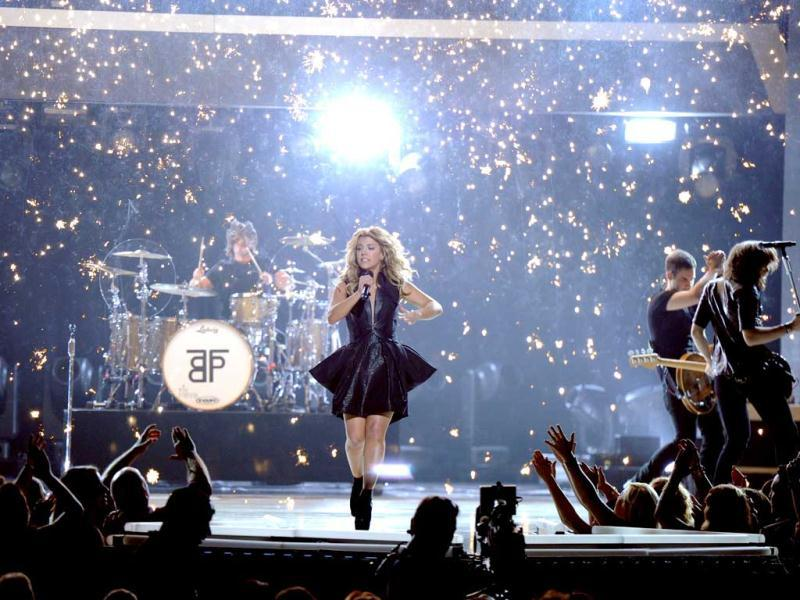 Singer Kimberly Perry of The Band Perry perform onstage during the 48th Annual Academy of Country Music Awards at the MGM Grand Garden Arena in Las Vegas, Nevada. AFP