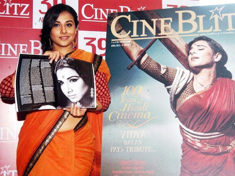 Vidya Balan looks pretty as usual in a cotton sari and a side plait. UNI Photo