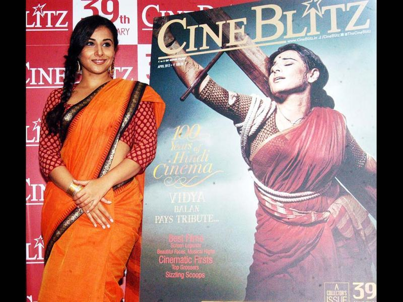 Vidya Balan recently launched Cine Blitz April 2013 issue which features her on the cover,which commemorates 100 years of Hindi cinema in Mumbai. UNI Photo