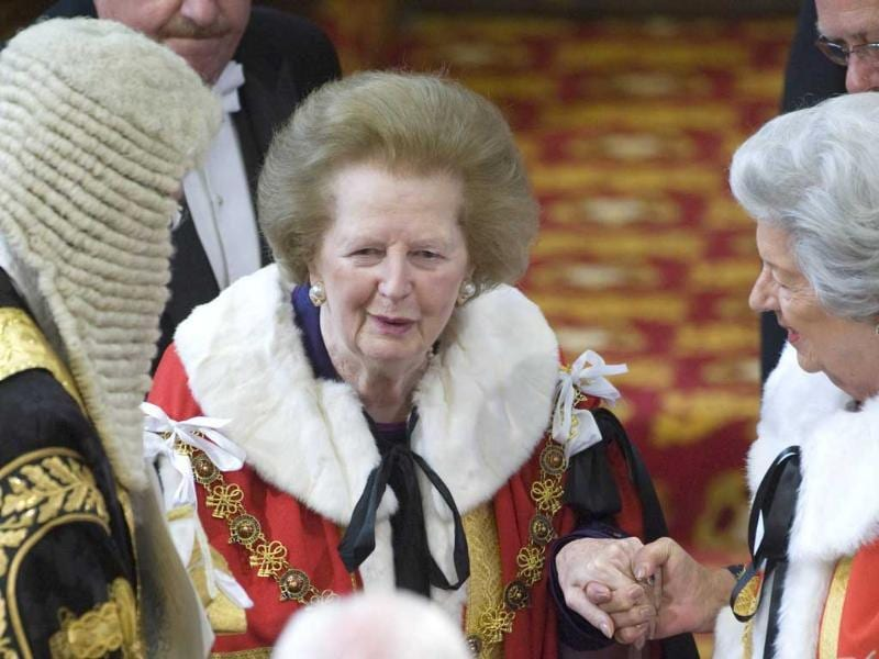 File photo of former British prime minister Thatcher attending the State Opening of Parliament at the House of Lords in Westminster, London. Reuters