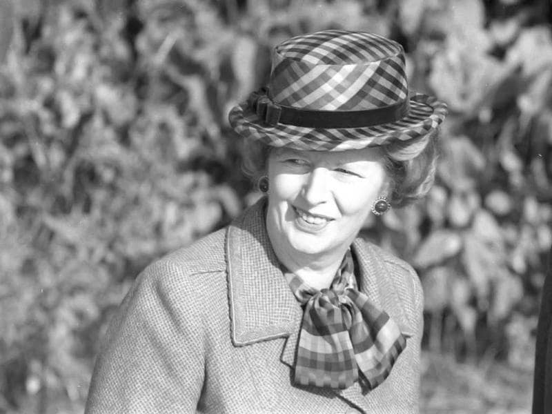 File photo of Britain's former prime minister Margaret Thatcher wearing a checkered green hat on her 60th birthday as she attends church near her official country residence, Chequers, near Aylesbury, England. Reuters