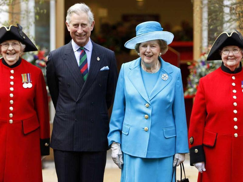 File photo of Britain's prince Charles and former PM Thatcher posing with Chelsea pensioners as they attend the opening of a new infirmary at the Royal Hospital Chelsea in London. Reuters
