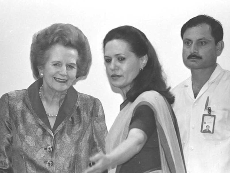 File photo of Sonia Gandhi, president of Indian National Congress with former British prime minister Margaret Thatcher. HT