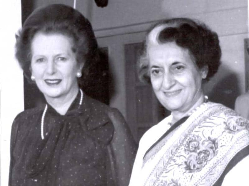 File photo of former prime minister Indira Gandhi with former British prime minister Margaret Thatcher. HT