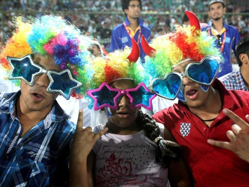Cricket fans before the start of IPL6 match between Rajasthan Royals and Kolkata Knight Riders in Jaipur. PTI Photo