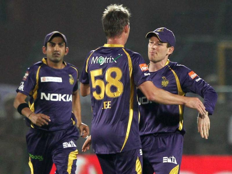 Kolkata Knight Riders bowler Brett Lee celebrates the falling of the wicket of Rajasthan Royals' Shane Watson during the IP6 match in Jaipur. PTI Photo