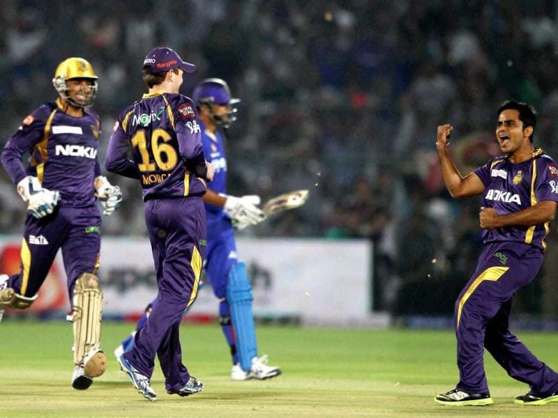 Kolkata Knight Riders bowler Rajat Bhatia celebrates the falling of the wicket of Rajasthan Royals Rahul Dravid during the IPL6 match in Jaipur. PTI Photo