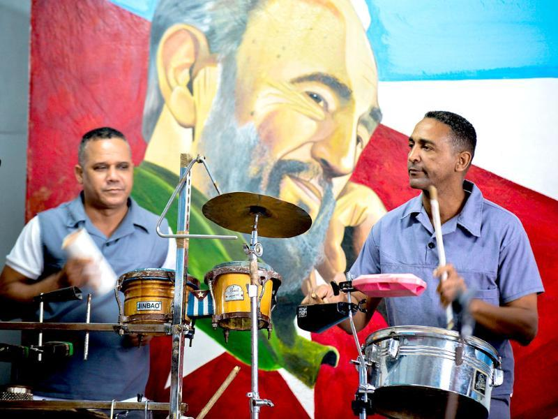 Cuban convicts play music as part of their reeducation programme at the maximum security