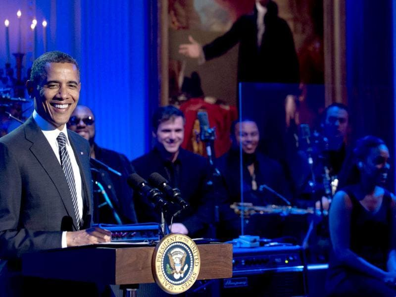 US President Barack Obama speaks during a concert in honor of Memphis Soul music in the East Room of the White House in Washington DC, as part of the
