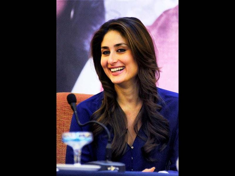 Kareena Kapoor laughs as she attends a press conference of Satyagraha in Bhopal. (PTI Photo)