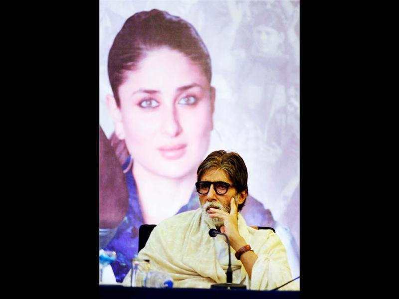 Amitabh Bachchan addresses a press conference of his upcoming film Satyagraha directed by Prakash Jha, in Bhopal on Tuesday. (PTI Photo)