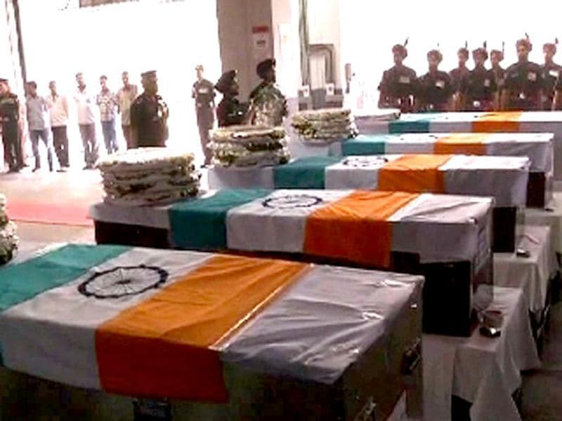 The bodies of the five Indian soldiers, who were killed when their convoy was attacked by rebels, during a UN peacekeeping mission in Sudan, arrived in India.