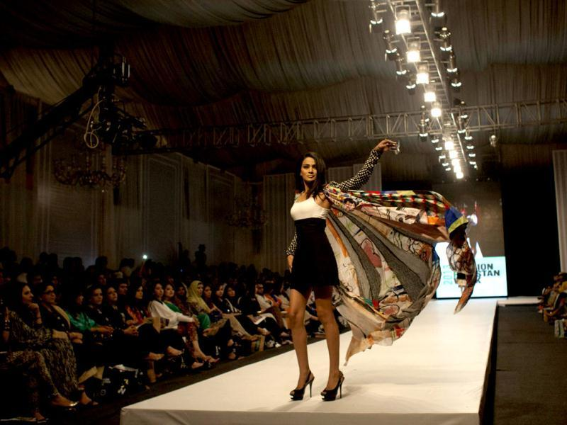 Another creation by designer Ayesha Ibrahim. (AP Photo)