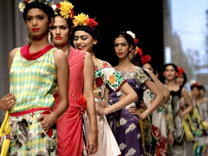 Pakistani models present creations by designer Deepak Paerwani, on the second and last day of Pakistan Fashion Week, in Karachi, Pakistan on April 10. (AP Photo)