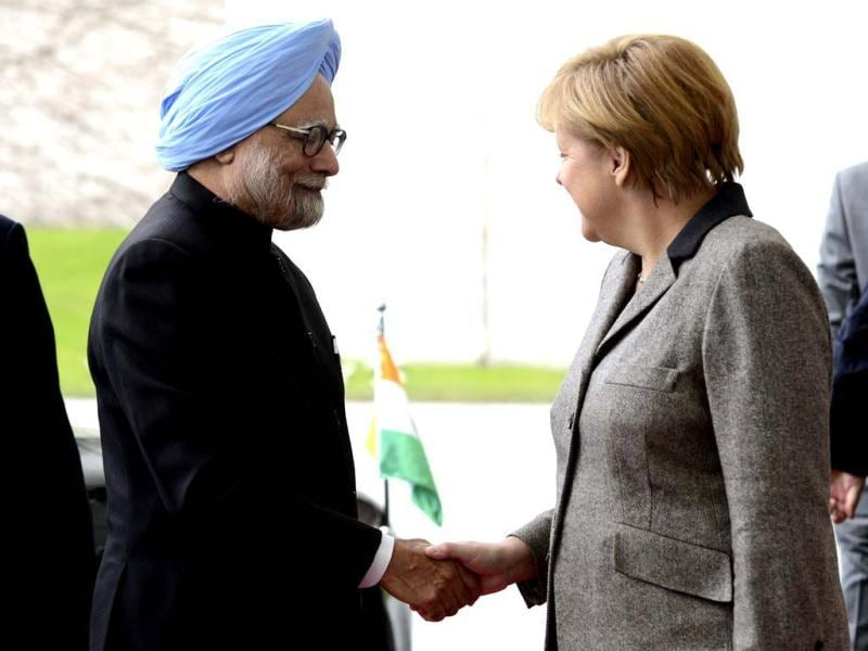 Prime Minister Manmohan Singh is welcomed by German Chancellor Angela Merkel as he arrives at the Chancellery in Berlin. Singh and key cabinet ministers meet for their second Indo-German intergovernmental consultations in Berlin. AFP photo