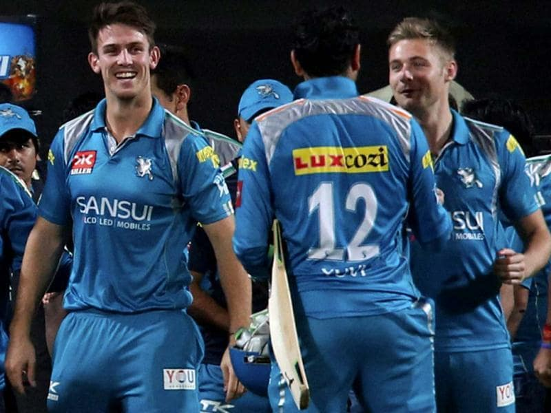 Pune Warriors celebrate their victory over Rajasthan Royals in the T20 match in Pune. PTI Photo