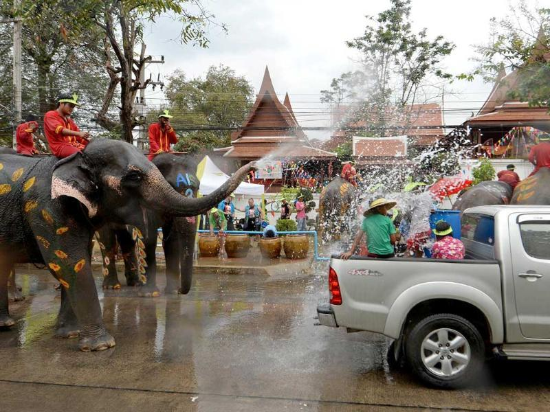Thai villagers take part in a water battle with elephants as they join celebrations marking the Songkran Festival in Ayutthaya province. Songkran is the Thai New Year. AFP