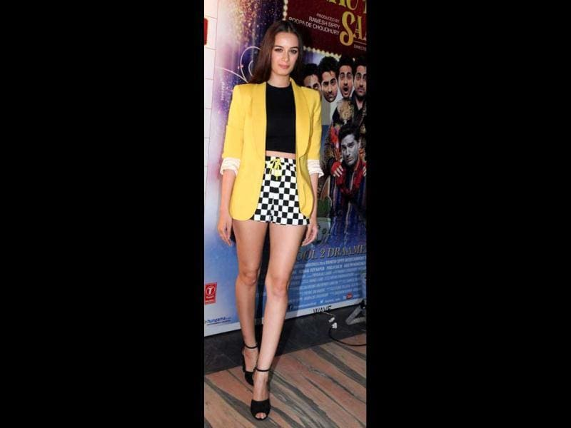 Evelyn Sharma poses at special screening of Nautanki Saala. (AFP Photo)