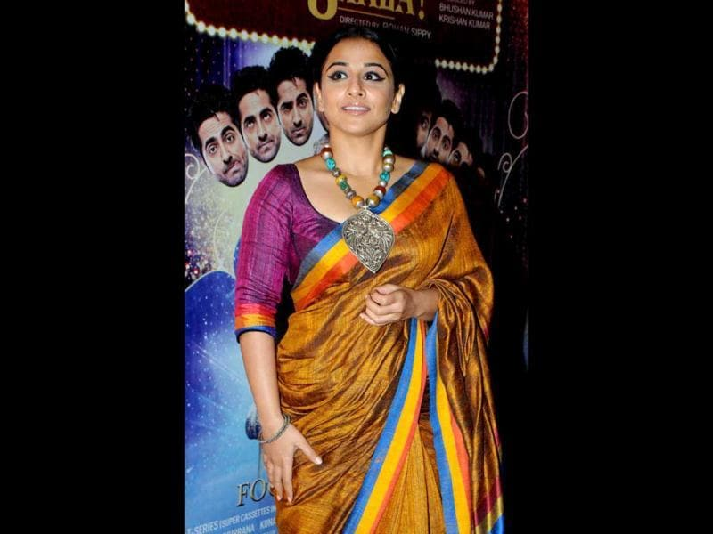 Vidya Balan looks beautiful in sari as poses for a photo at a special screening Nautanki Saala in Mumbai. (AFP Photo)