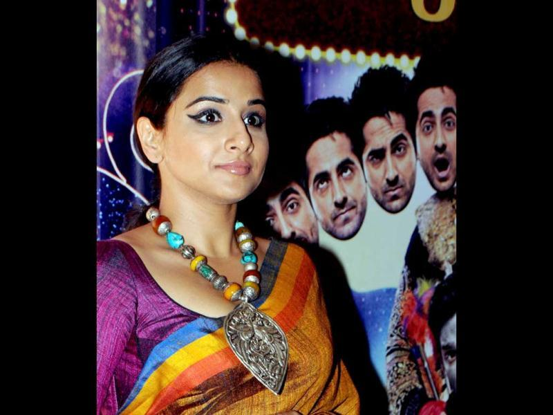 Vidya Balan poses for a photo at a special screening of the comedy Hindi Film Nautanki Saala in Mumbai on April 11, 2013. (AFP Photo)