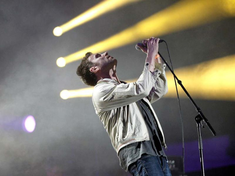 Damon Albarn of British band Blur performs during the Coachella Music Festival in Indio. (Reuters)