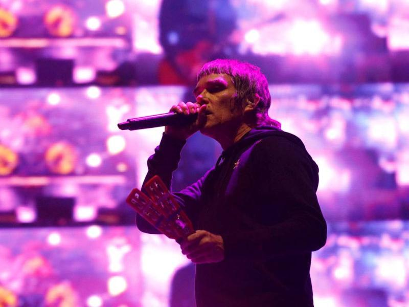Ian Brown of British band The Stone Roses performs during the Coachella Music Festival in Indio. (Reuters)