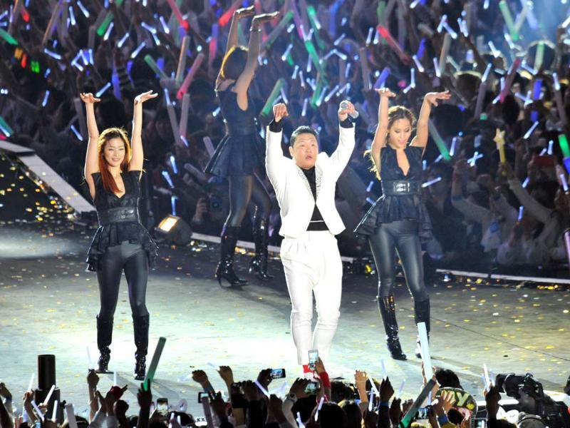 'Gangnam Style' star Psy performs during his concert 'Happening' in Seoul where he unveiled his all-important dance and video aimed at moulding his new single 'Gentleman' into another global hit. AFP photo