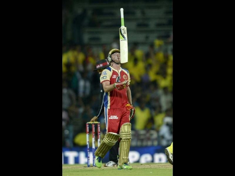Royal Challengers Bangalore player AB De Villiers in action against Chennai Super Kings during their T20 match at MA Chidambaram Stadium in Chennai. HT Photo
