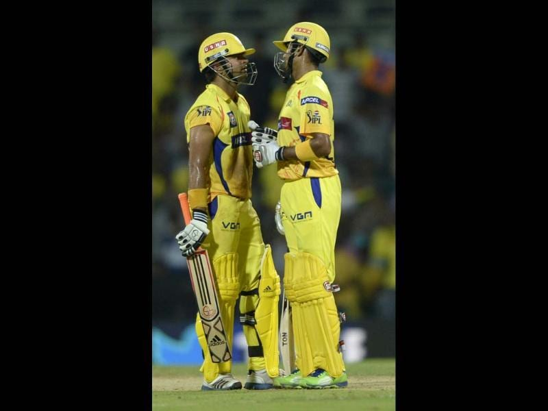 Chennai Super Kings batsman Sureh Raina and S Badrinath in action against Royal Challengers Bangalore during their T20 match at MA Chidambaram Stadium in Chennai. HT Photo