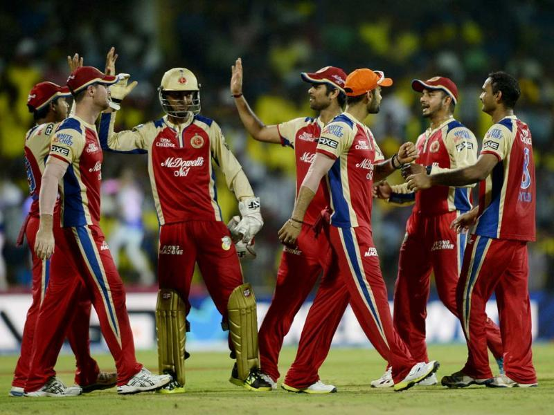 Royal Challengers Bangalore players celebrate during their against Chennai Super Kings MA Chidambaram Stadium in Chennai. HT Photo