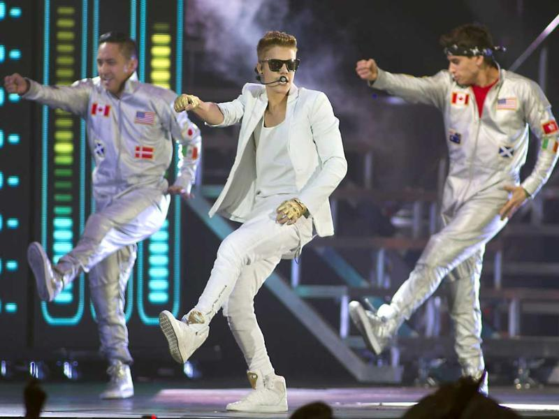Canadian singer Justin Bieber performs during a concert at The GelreDome Stadium in Arnhem. AFP