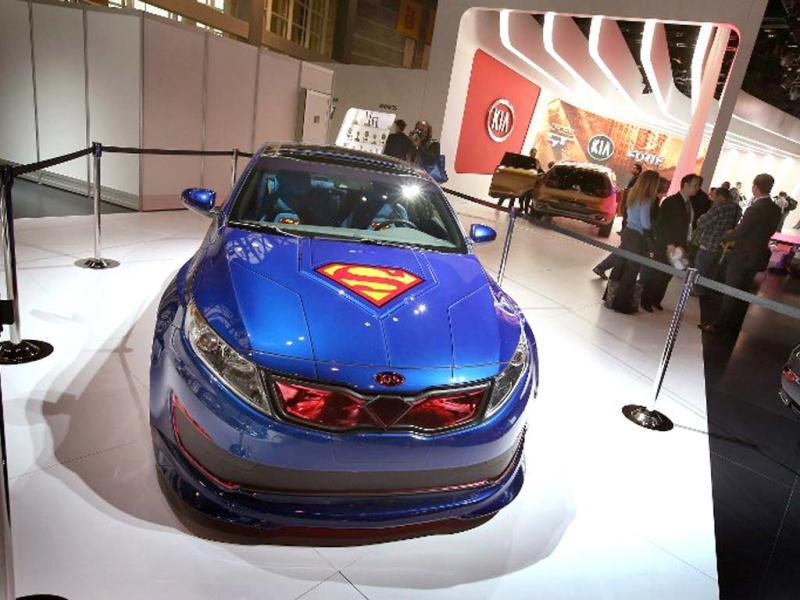 Kia displays the DC Comics Superman Edition Optima Hybrid at the Chicago Auto Show in Chicago, Illinois. AFP photo