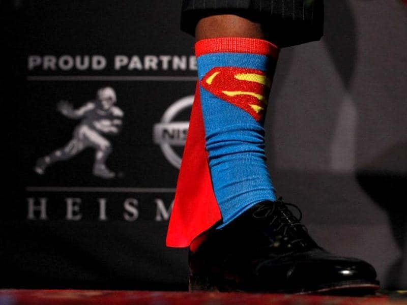 UA detail view of Heisman Memorial Trophy Award winner Robert Griffin III of the Baylor Bears showing his Superman socks during a press conference at The New York Marriott Marquis in New York City. AFP photo