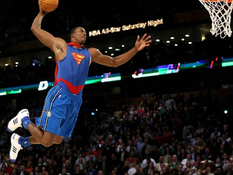 Dwight Howard of the Orlando Magic wearing a Superman Cape in the Sprite Slam-Dunk Contest at the New Orleans Arena during the NBA All-Star Weekend in New Orleans, Louisiana. AFP photo
