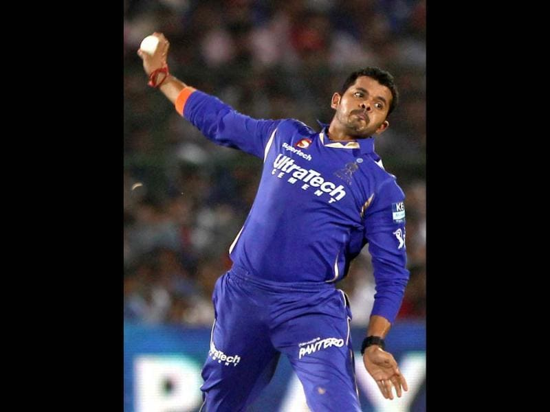 File photo: Rajasthan Royals bowler Sreesanth in action against Kings XI Punjab during the T20 match in Jaipur. PTI Photo
