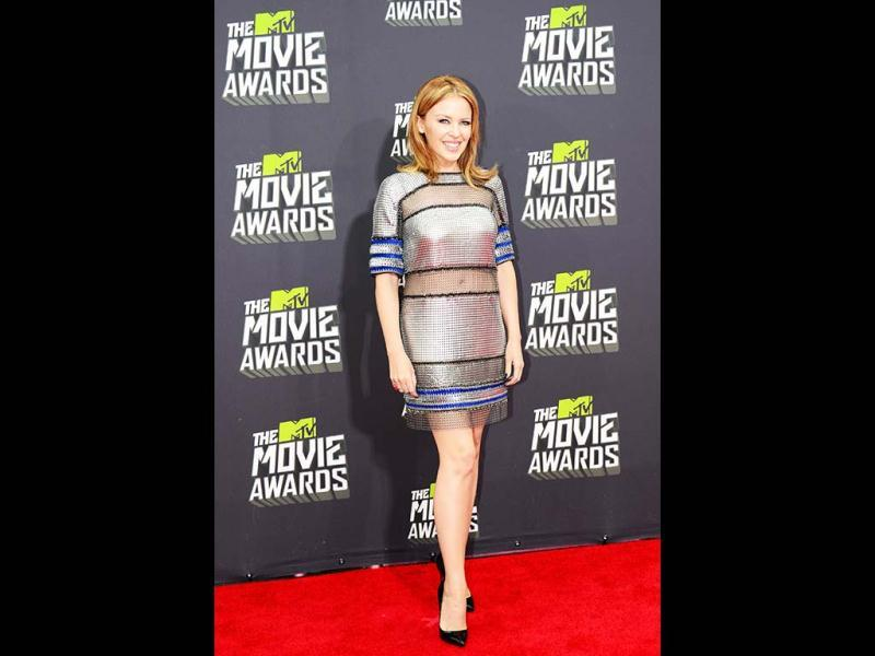 Singer Kylie Minogue at the red carpet of the 2013 MTV Movie Awards in Los Angeles, California, on April 14, 2013. (AFP Photo)