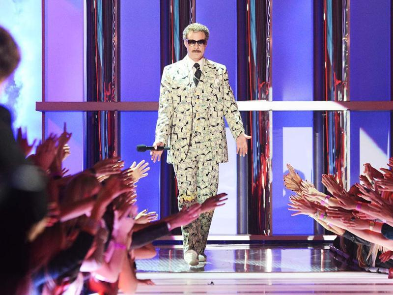 Million dollar man! Will Ferrell in a money suit at the 2013 MTV Movie Awards. (AP Images)