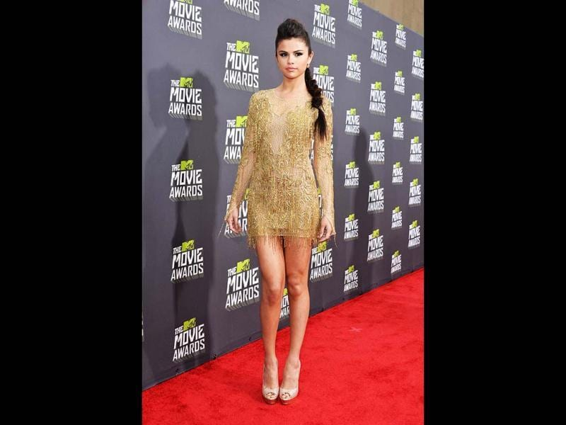 Actress-singer Selena Gomez arrives at the 2013 MTV Movie Awards at Sony Pictures Studios on April 14, 2013 in Culver City, California. (Getty Images/AFP)