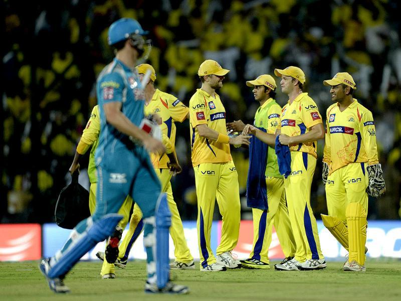 Chennai Super Kings celebrate the wicket of Pune Warriors batsman during their T20 match at MA Chidambaram Stadium in Chennai. HT Photo