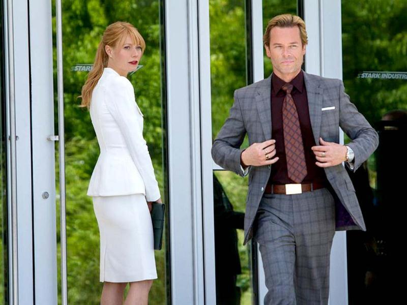 The film stars Gwyneth Paltrow as Pepper Potts and Guy Pearce as Aldrich Killian (left).