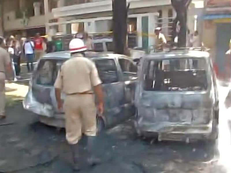 Cars gutted in the blast outside BJP office in Bangalore. (ANI)