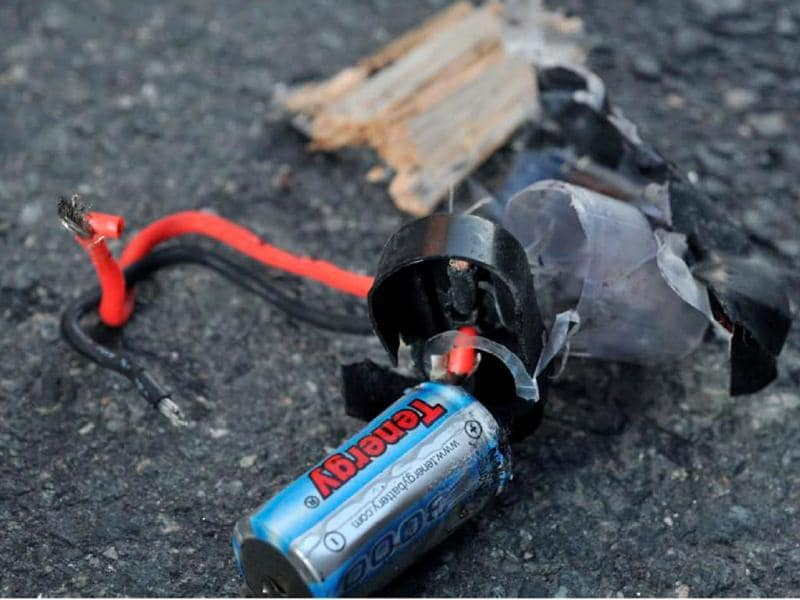 Boston Marathon bomb scene pictures taken by investigators show the remains of an explosive device. (Reuters)