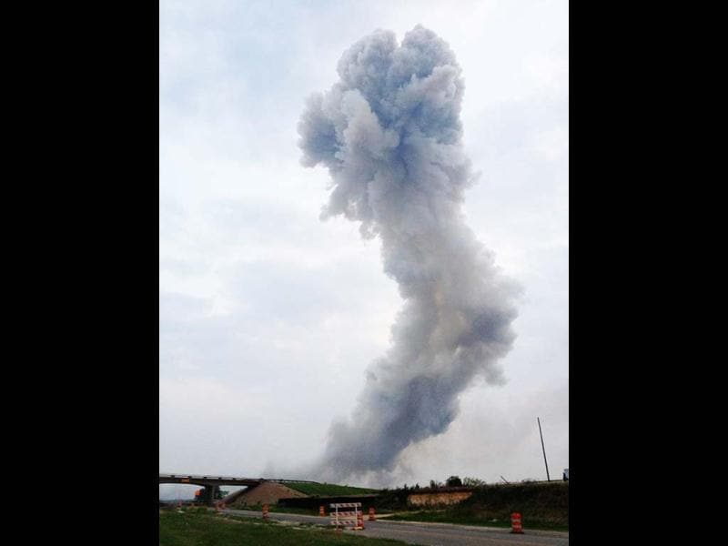 A column of smoke rises after an explosion at a fertilizer plant north of Waco, Texas. Reuters photo/Joe Berti/Twitter