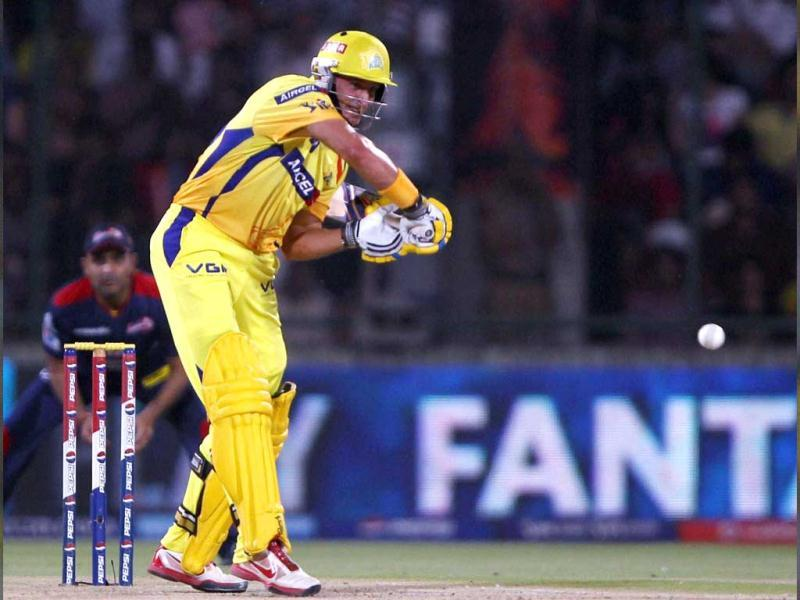 Chennai Super Kings batsman M Hussey plays a shot against Delhi Daredevils during their match in New Delhi. (PTI Photo)